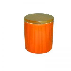 Δοχείο κεραμεικό με καπάκι - πορτοκαλί