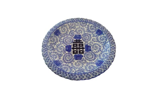 Πιατέλα κεραμεική μπλε/λευκό