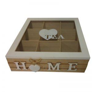 Ξύλινο κουτί HOME για τσάι